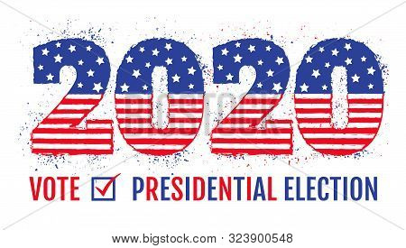 Vector Vintage Banner For 2020 Presidential Election In Usa. 2020 Like American Flag For Election Of