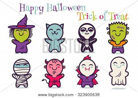 Vector Set Illustrationn Of Children In Costumes For Halloween. Illustrations With Cute Kids In Hall