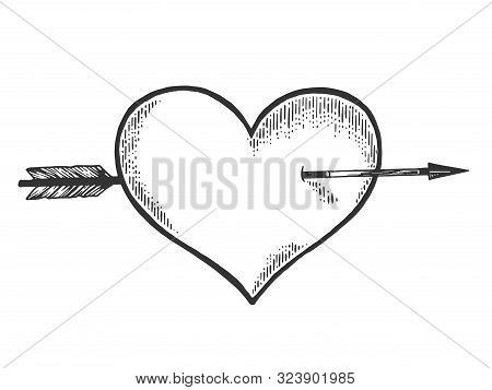 Heart Symbol Pierced With Arrow Sketch Engraving Vector Illustration. Romantic Love Lovesickness Sym
