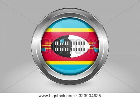 Flag Of Eswatini. Metal And Glass Round Vector Icon. Isolated