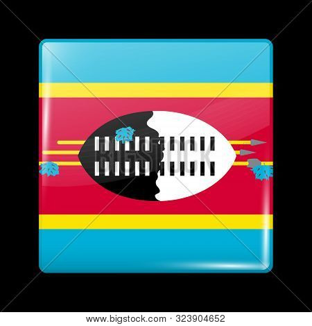 Flag Of Eswatini. Glossy Icon Square Shape. Vector