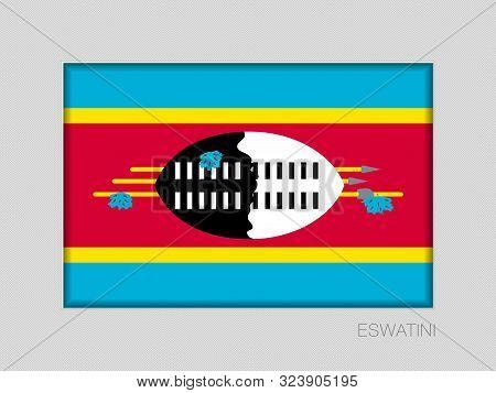 Flag Of Eswatini. National Ensign Aspect Ratio 2 To 3 On Gray Cardboard