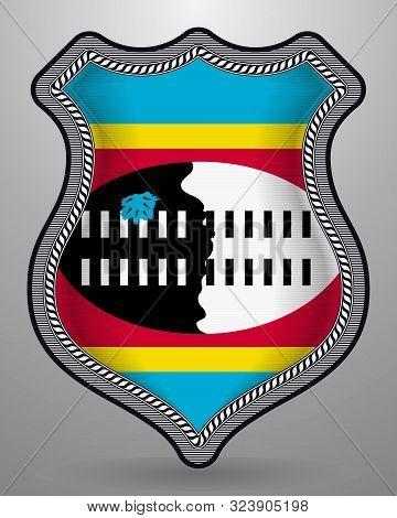 Flag Of Eswatini. Vector Badge And Icon. Horizontal Orientation Version