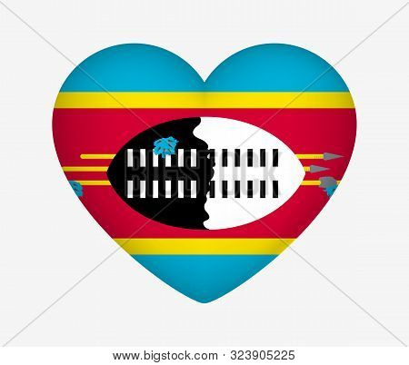 Heart Shaped National Flag Of Eswatini. I Love My Country. Vector