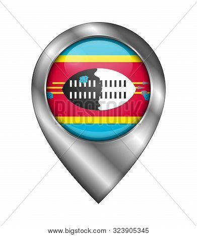 Flag Of Eswatini. Vector Sign And Icon. Location Symbol Shape. Silver