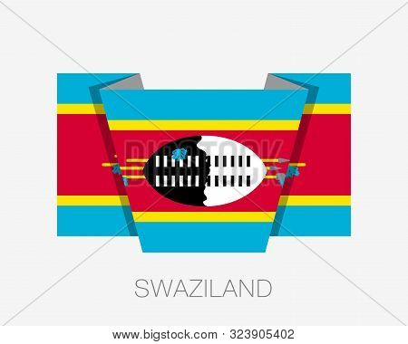 Flag Of Swaziland. Eswatini. Flat Icon Waving Flag With Country Name On White