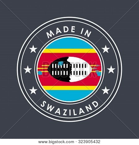 Flag Of Swaziland. Eswatini. Round Label With Country Name For Unique National Goods. Vector