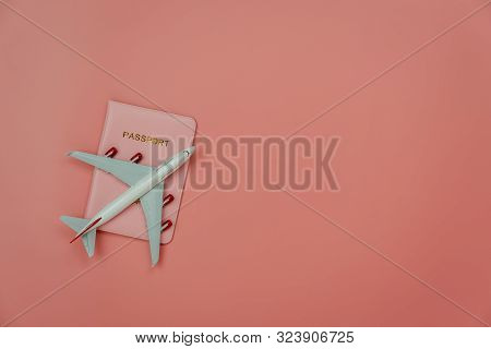 Table Top View Accessory Of Accessory Travel In Holiday Background Concept.flat Lay Of Airplane With