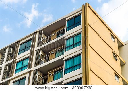 Modern Condominium Building In The City Sky Cloud Background