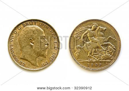 English sovereign coin showing front and back views, isolated on white.