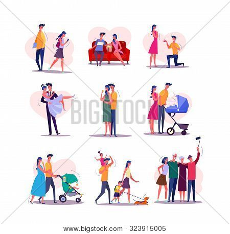 Family Life Cycle Set. Man And Woman Dating, Couple Getting Married, Having Baby, Walking With Child