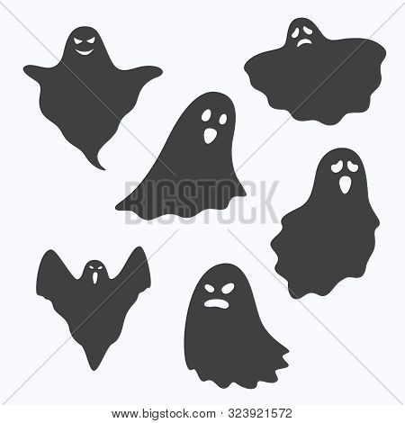 Set Of Ghost Characters On White Background, Vector Illustration