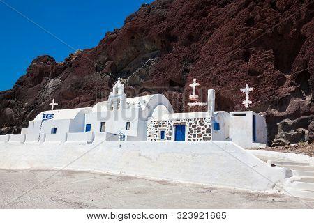 Saint Nikolaos Orthodox Church Located In Akrotiri Next To The Famous Red Beach At Santorini Island