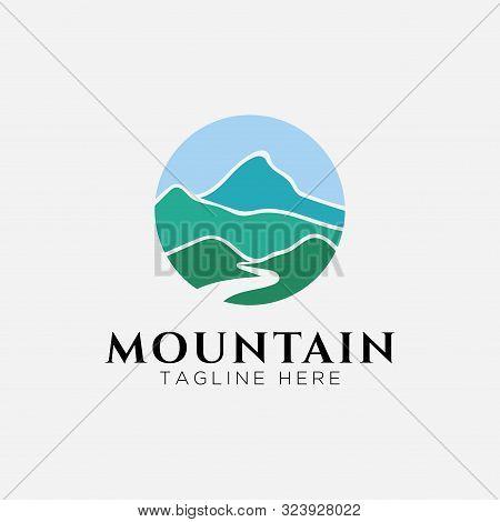 Mountain With River View Logo Design.circle Mountain-vector