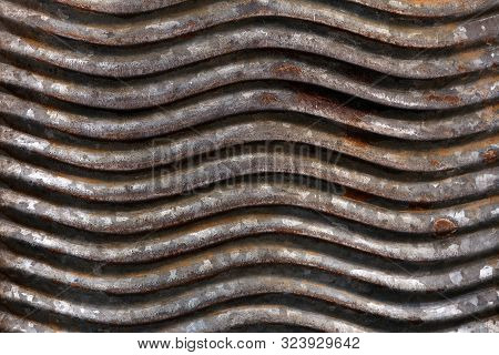 Old, Rusty, Wavy Metal Surface. Background Image, Texture. Steampunk