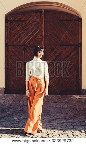 Girl Makeup Face Fashion Trend Matching Clothes. High Waisted Trousers Keep Returning To Catwalk. Fa