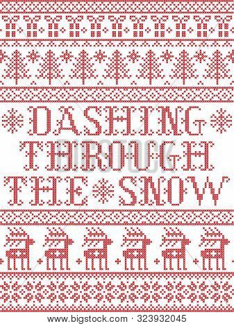 Dashing Through The Snow  Pattern With Scandinavian, Nordic Festive Winter Pasterns In Cross Stitch