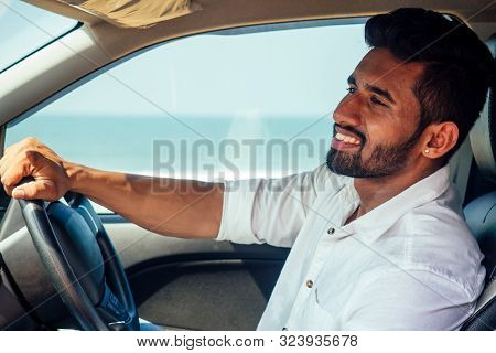 Travel Vacation Happy Indian Man In White Shirt Collar Buying New Car And Showing The Key, Sitting I