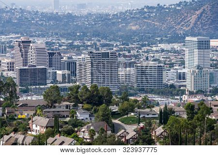 Homes and buildings in downtown Glendale near Los Angeles in Southern California.