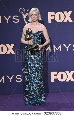 LOS ANGELES - SEP 22:  Michelle Williams at the Emmy Awards 2019: PRESS ROOM at the Microsoft Theater on September 22, 2019 in Los Angeles, CA