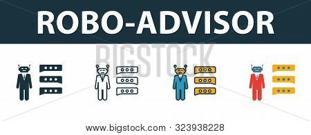 Robo-advisor Icon Set. Premium Symbol In Different Styles From Fintech Technology Icons Collection.