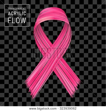 Pink Ribbon Flow, Breast Cancer Awareness Symbol. Brushstroke On Transparent Background.. Ribbon Iso