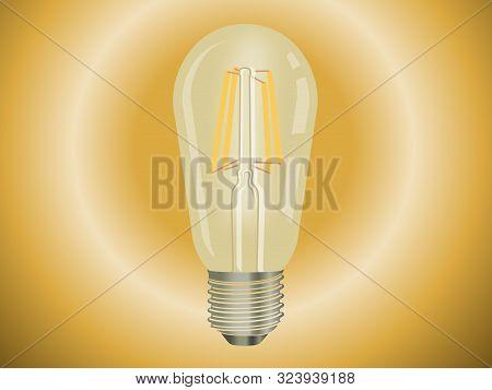 Retro Watt Bulbs. Steampunk Light Lamps, Vintage Vector Lamp Set, Interior Decoration Lightbulbs Wit