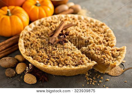 Traditional Fall Seasonal Dessert, Pumpkin Pie With Streusel Crumb Topping