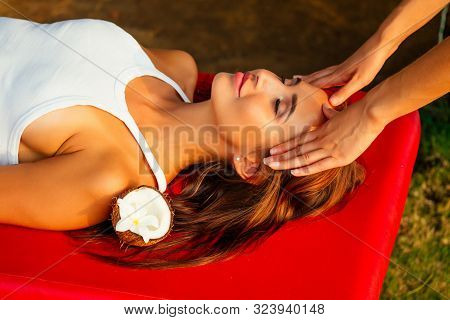 Ayurvedic Relaxing Massage , Health Beauty Happy Closed Eyes Woman In Spa Salon Getting Massage On T