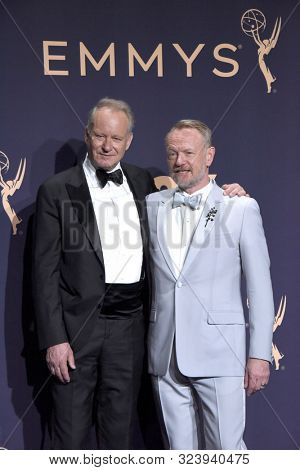 LOS ANGELES - SEP 22:  Stellan Skarsgard, Jared Harris at the Emmy Awards 2019: PRESS ROOM at the Microsoft Theater on September 22, 2019 in Los Angeles, CA
