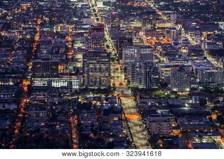 Glendale, California, USA - September 22, 2019:  Night hilltop view of Brand Blvd and downtown Glendale near Los Angeles and Burbank.