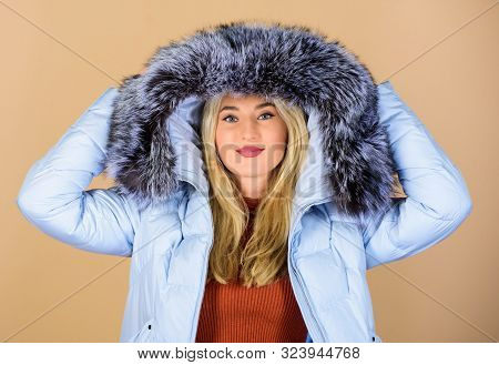 Cheerful Winter Girl. Girl In Puffed Coat. Faux Fur Fashion. Woman In Padded Warm Coat. Beauty In Wi