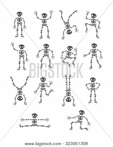 Skeletons Dancing. Funny Dancing Skeleton Vector Illustration Background. The Day Of The Dead. Runni