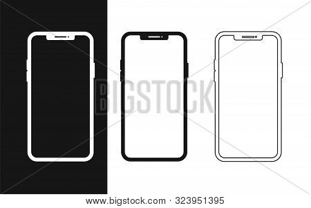 Set Flat Smartphone For Web Design. Mobile Smartphone Device Gadget. Blank Screen Isolated. Mobile P