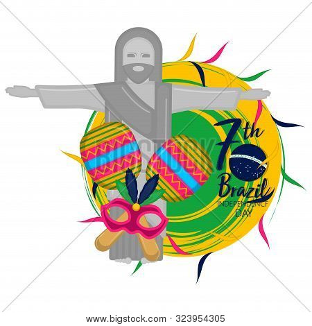Brazil Independence Day Illustration With A Christ Redeemer - Vector
