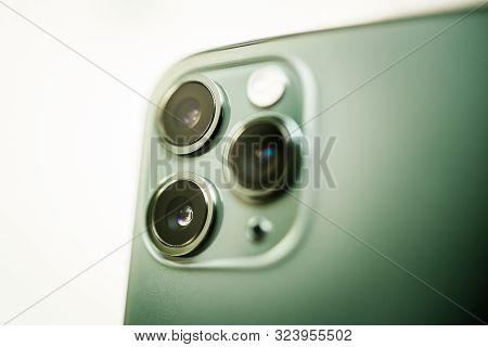 Paris, France - Sep 20, 2019: Close-up Macro Details Of New Latest Apple Computers Iphone 11 Pro And