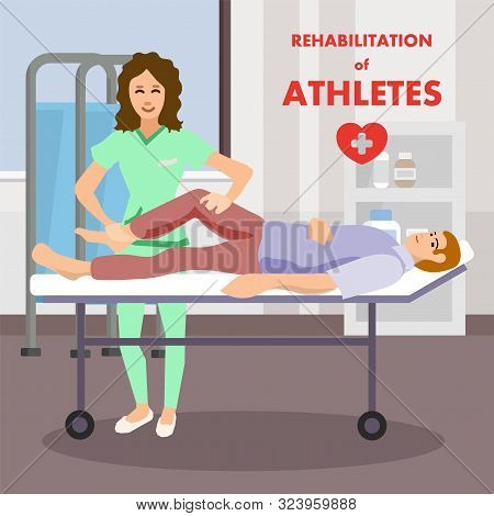 Rehabilitation Leg Massage Physio Therapy By Professional Masseur Advertising Poster. Man Lying On S