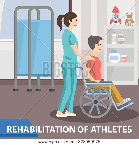 Rehabilitation For Person With Disabilities. Nurse Pushing Wheelchair With Paralyzed Patient. Young