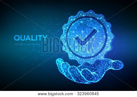 Quality. Low Polygonal Quality Icon Check In Hand. Standard Quality Control Certification Assurance.