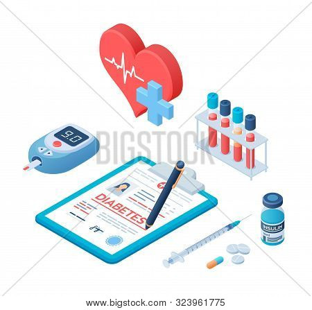 Medical Diagnosis - Diabetes. Diabetes Mellitus Type 2 And Insulin Production Concept. Blood Glucose