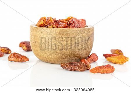 Lot Of Whole Hot Dry Red Chili Pepper Peperoncino In Wooden Bowl Isolated On White Background