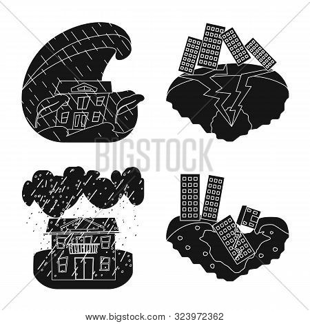 Vector Design Of Calamity And Crash Sign. Set Of Calamity And Disaster Stock Symbol For Web.