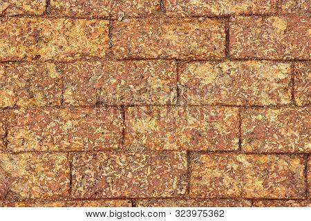 Natural Laterite Square Brick Block Pavement Floor Ground Background.