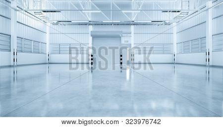3d Rendering Of Factory  Building With Concrete Floor And Shutter Door For Industrial Background.