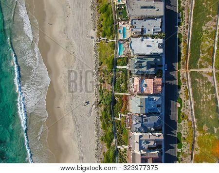 Aerial Top View Of Salt Creek And Monarch Beach Coastline. Small Neighborhood In Orange County City