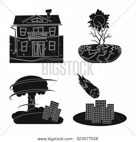 Isolated Object Of Calamity And Crash Logo. Set Of Calamity And Disaster Stock Symbol For Web.
