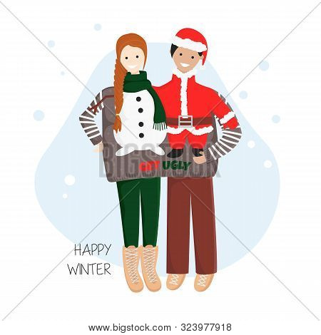 Vector Illustration Of Couple In One Ugly Sweater Together For Christmas And New Year Party.  Templa