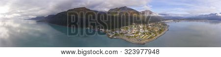 Aerial View Of Seward City Center And Waterfront Panorama In Fall, Seward, Kenai Peninsula, Alaska,