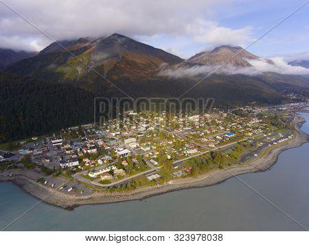 Aerial View Of Seward City Center And Waterfront In Fall, Seward, Kenai Peninsula, Alaska, Usa. Sewa