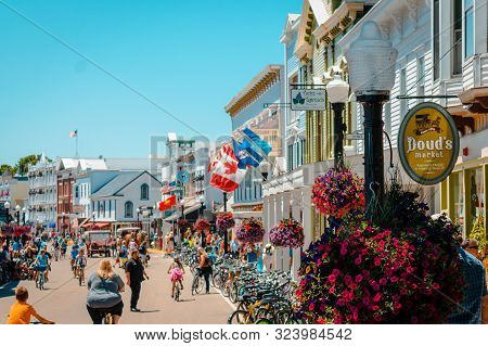 Mackinac Island Mi /usa - July 9th 2016: A View Of The Busy Season On Mackinac Island